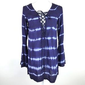 Blue Life Top Blue White Tie-Dye Tunic Lace Up Nec